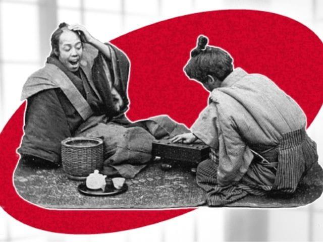 Imagen de dos japoneses jugando shogi